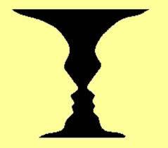 Vordergrund/Hintergrund - weiße /schwarze Fläche - Gesicht/Vase.